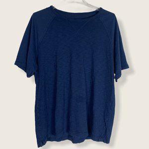Vince Crew Neck T Shirt Blue Short Raglan Sleeve